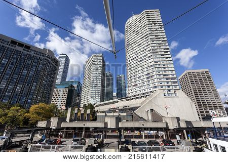 Toronto waterfront buildings and ferry terminal. Province of Ontario Canada