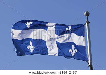 The national flag of the province Quebec in Canada