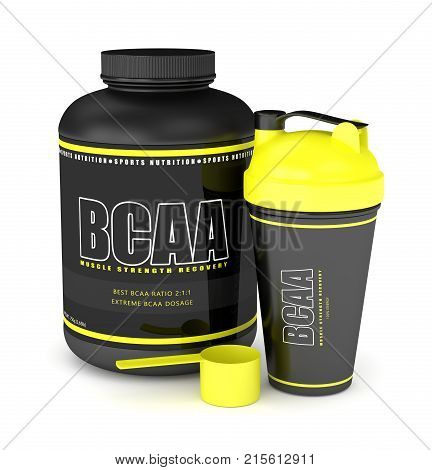 3D Render Of Bcaa Powder With Dumbbells And Shaker