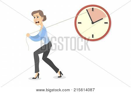 Deadline concept illustration. Businesswoman pushing the clock arrow to delay.