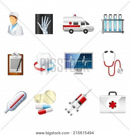 Medical icons. Medical equipment, tools. Colorful web templates and mobile applications. flat design. Health and treatment. Modern concept, vector illustration