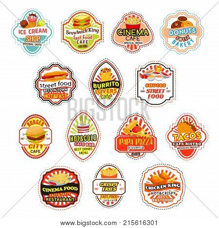 Fast food restaurant icons for fastfood delivery or takeaway menu burgers. Vector isolated sandwiches and cheeseburger, pizza or hot dog burger and soda drink or ice cream or popcorn and donut