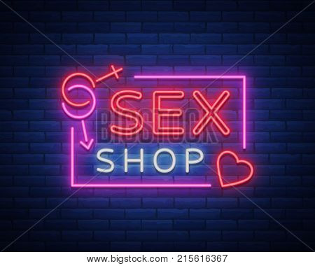 Sex shop logo, night sign in neon style. Neon sign, a symbol for sex shop promotion. Adult Store. Bright banner, nightly advertising. Vector Illustration.