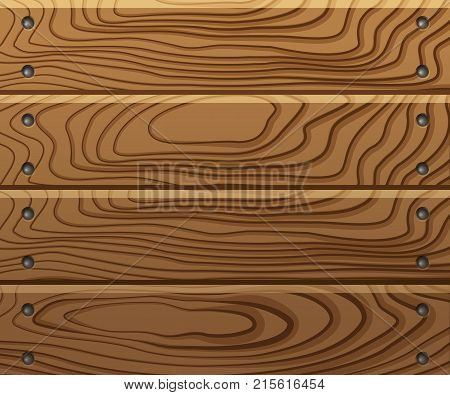 Wooden texture, boards with nails, wooden planks background. Vector illustration