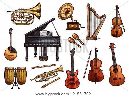 Musical instruments sketch icons. Vector isolated set of music piano, gramophone or guitar and orchestra harp, trombone bass and drums or pipe flute and fiddle violin and maracas for concert