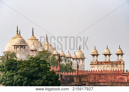 Moti Masjid or Pearl Mosque in Agra Fort, Uttar Pradesh, India. It stands on ground that slopes from east to west to the north of Diwan-i-Aam complex in Agra Fort.