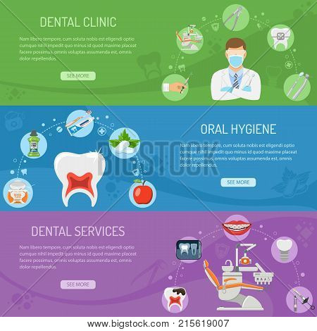 Dental Services horizontal banners with Oral Hygiene and Dental Clinic. Icons in Flat Style Doctor, Dentist Chair, Tooth and Braces. vector illustration