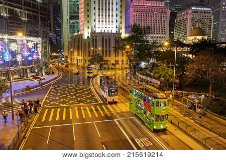 HONG KONG - DECEMBER 25, 2015: double-decker tramways in Hong Kong at night.