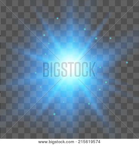 Blue star light effect on transparent background. Glow light effect.  Vector.