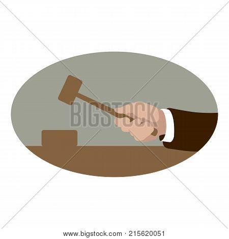hand hitting wooden gavel vector illustration flat style