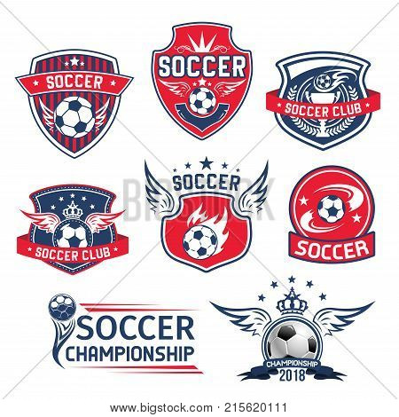 Soccer club badges or football championship cup icons set. Vector soccer ball with wings and goal victory laurel wreath or stars on heraldic crown shield for college soccer league team college league
