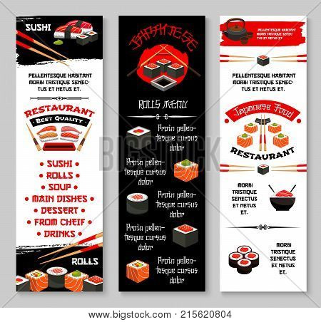 Japanese sushi restaurant or Asian cuisine bar menu banners templates. Vector fish sushi rolls, rice and salmon tobiko, eel or tuna sashimi and ramen noodles soup, Japanese tea, chopsticks and soy