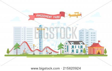 City with amusement park - modern flat design style vector illustration on urban background. Lovely view with circus, big wheel, roller coaster, houses, people walking. Entertainment concept