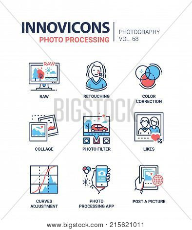 Photo processing - line design icons set with description. Detailed steps of a photographer. Raw, retouching, color correction, collage, filter, likes, curves adjustment, app, post a picture