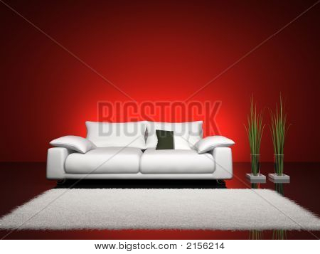Fashionable Interior With Red Wall 3D Rendering