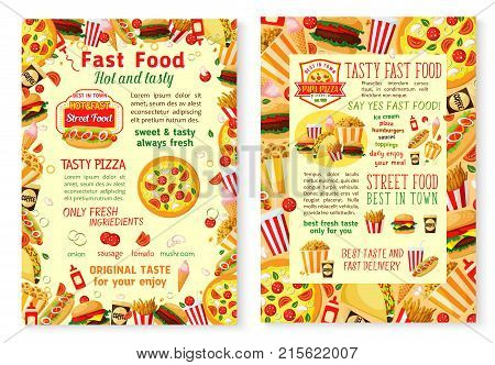 Fast food posters for burgers, pizza and hot dog sandwiches takeaway or restaurant delivery. Vector fastfood bistro or cafe combo meals of cheeseburger, hamburger and popcorn or ice cream and donut