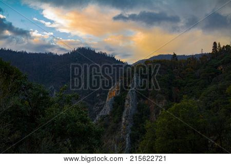 Magical sunset over Sequoia National Forest in Sequoia and Kings Canyon National Park.
