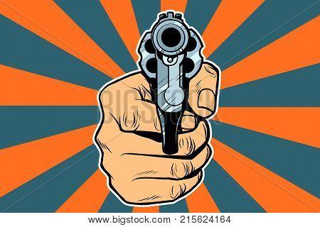 revolver in hand. Pop art retro vector illustration