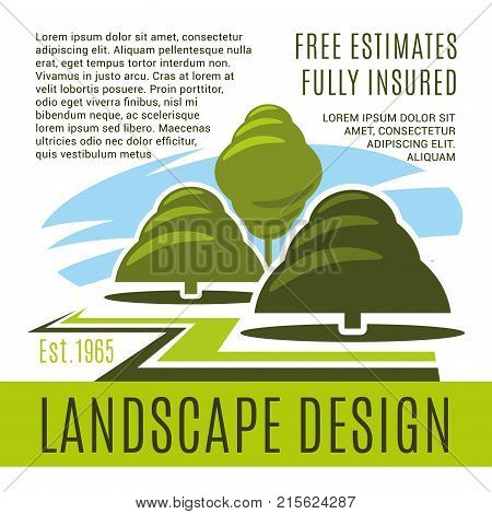 Landscape design and gardening horticulture company poster template. Vector green nature trees or park gardens and woodland plantations for landscaping and green land building service