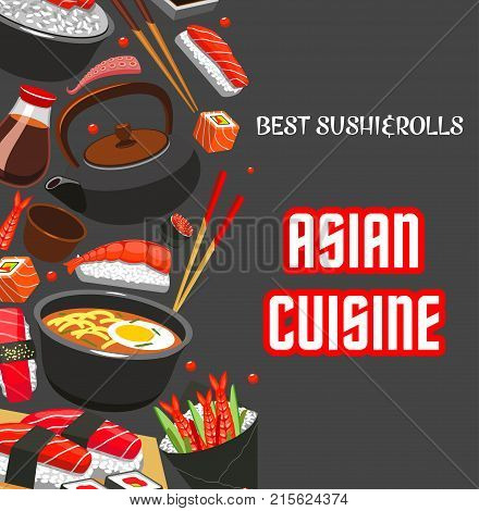 Asian cuisine poster template for Japanese sushi restaurant or japanese food menu of fish sushi roll, rice and salmon sashimi, eel or tuna maki. Vector design of ramen noodle soup and chopsticks