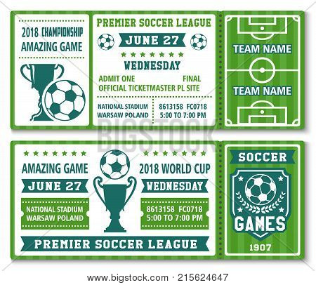 Soccer championship 2018 or football cup premier league tournament admit tickets design. Vector ticket templates of footballer of sport football team, soccer ball and champion victory ribbon