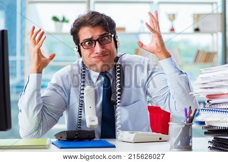 Unhappy angry call center worker frustrated with workload poster