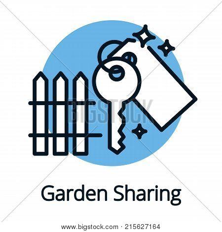 Garden sharing, key icon black outline concept sharing economy vector