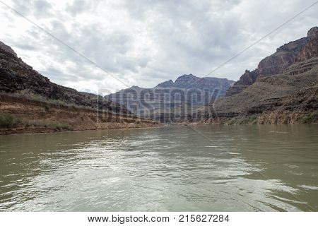 The view of the Grand Canyon from the water in Arizona