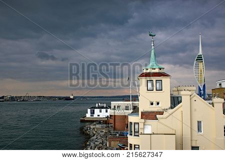 Buildings on the coast of Portsmouth harbour