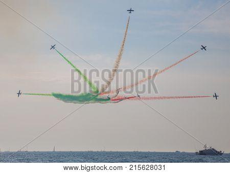 Tirrenia Pisa Italy September .11 2016. Air Show of Pisa Italian aerobatic team Frecce Tricolori exhibition ... on the seafront of Tirrenia Pisa at the Air Show.