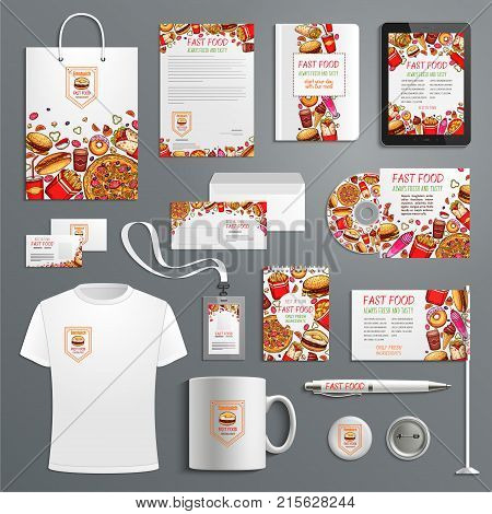 Fast food restaurant or fastfood burgers advertising promo items template for company branding. Vector branded apparel and office stationery t-shirt apparel, business card, flag, mug cup and paper bag