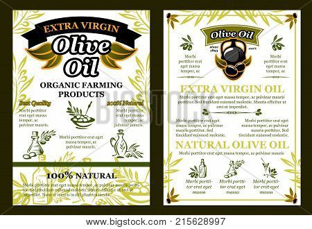 Olive oil extra virgin organic farm product poster of green and black olives for Greek, Italian or Mediterranean cuisine design template. Vector best quality natural cooking oil in bottles and jars
