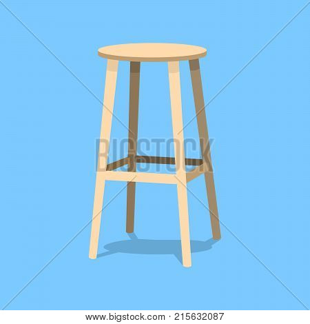 Ocher wooden bar stool isolated on blue background. Single object realistic design vector illustration eps10