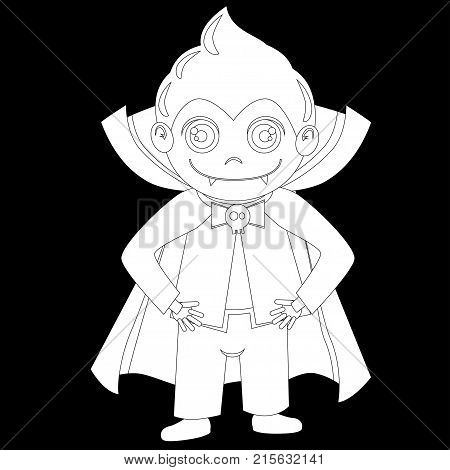 A cute Halloween costume. A boy in a vampire costume draculas. His costume consists of a pale grimma a stylish hairstyle a black vampire robe and a blue tuxedo with a butterfly
