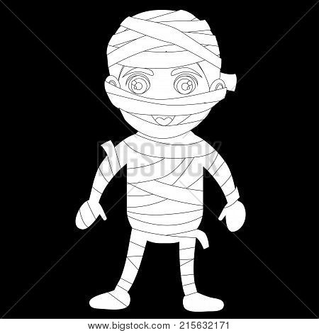 A cute Halloween costume. A boy in a zombie suit with bandages and paper. Afro-American boy mulatto in the costume of the Egyptian mummy