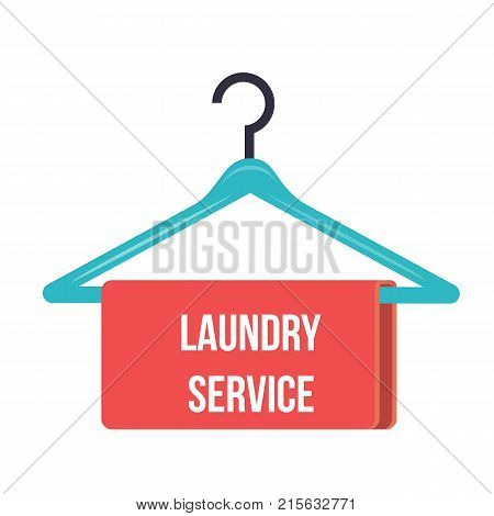 hanger with the inscription Laundry service - Hanger Vector Icon.