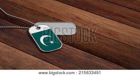 Pakistan Army Concept, Pakistan Flag Identification Tags On Wooden Background. 3D Illustration