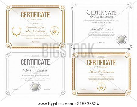 Set certificates appreciation vector photo bigstock set of certificates of appreciation award certificate diploma template in retro style golden and yadclub Gallery