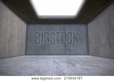 Empty Concrete Room with Skylight Celling Window. Architectural Construction Background. 3D Illustration.