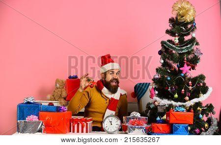 Santa Decorates Christmas Tree. Santa Claus Sits Near Fir Tree