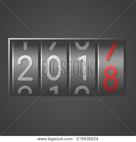 Analog counter New Year 2018 on black background. Vector illustration.