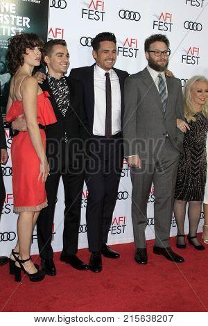 LOS ANGELES - NOV 12:  Alison Brie, Dave Franco, James Franco, Seth Rogen, Jacki Weaver at