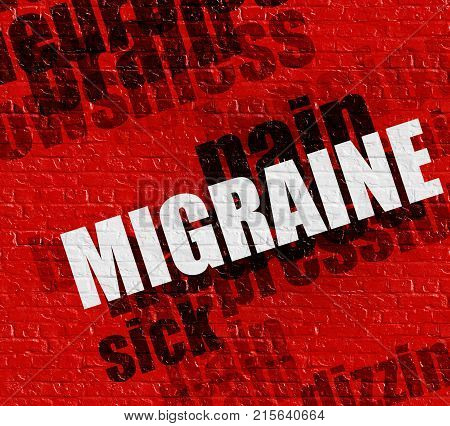 Modern healthcare concept: Migraine on the Red Brick Wall . Migraine - on the Wall with Wordcloud Around .