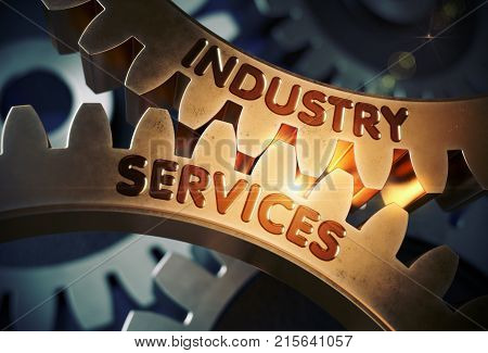 Industry Services on Mechanism of Golden Metallic Cogwheels. Industry Services - Industrial Illustration with Glow Effect and Lens Flare. 3D Rendering.
