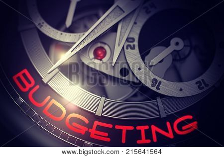 Fashion Pocket Watch with Budgeting on Face, Symbol of Time. Budgeting - Elegant Wrist Watch with Visible Mechanism and Inscription on Face. Work Concept with Glow Effect and Lens Flare. 3D Rendering.