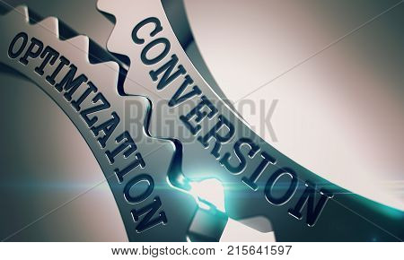Conversion Optimization on the Mechanism of Metal Cogwheels with Lens Effect - Interaction Concept. Inscription Conversion Optimization on the Shiny Metal Gears - Enterprises Concept. 3D Render .