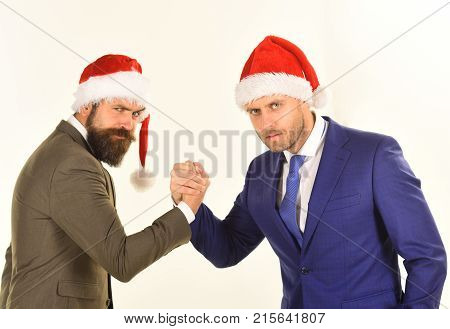 Business And Christmas Vacation Concept. Men In Classic Suits