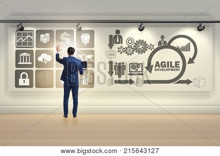 Businessman in agile software development concept