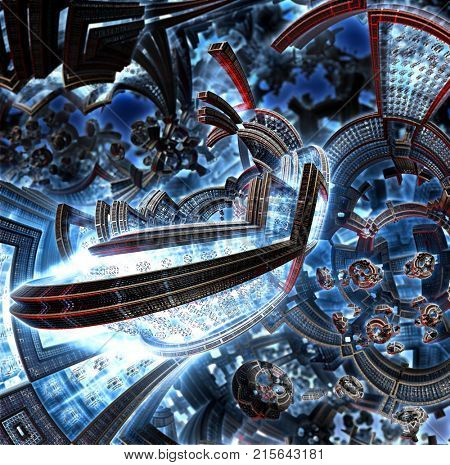 3d fractal of future city. Space ship from metal elements move in cosmos. Clean energy concept. Orbital station of future civilization in galaxy . High-tech settlement on city space orbit. poster