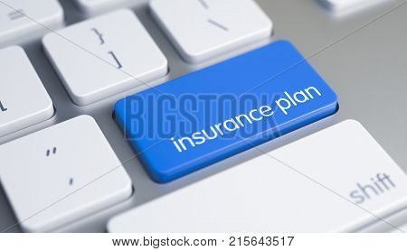 Close-Up View on the Modernized Keyboard - Insurance Plan Blue Button. Inscription on Blue Keyboard Enter Button, for Insurance Plan Concept. 3D Render.